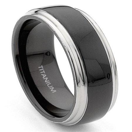 Head Titanium Bands (7mm Black and Grey Titanium Wedding Band Ring Sz 10.0 )