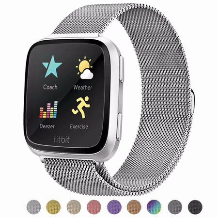 Black Ion Stainless Steel Band (POY For Fitbit Versa Bands, Stainless Steel Milanese Loop Metal Replacement Bracelet Strap with Unique Magnet Lock for Fitbit Versa, Small)