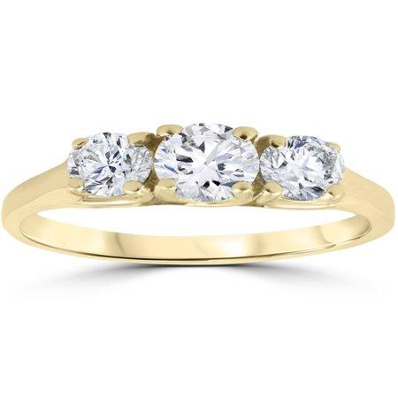 1ct Three Stone Diamond Engagement Womens Anniversary Ring 14k Yellow Gold 3 Stone Diamond Engagement Setting