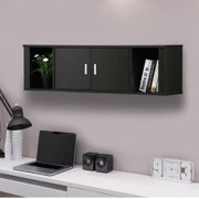 Yaheetech Wall Mounted Floating Media Storage Cabinet Hanging Desk Hutch 2 Door & Compartment Home Office   Furniture ( Black )