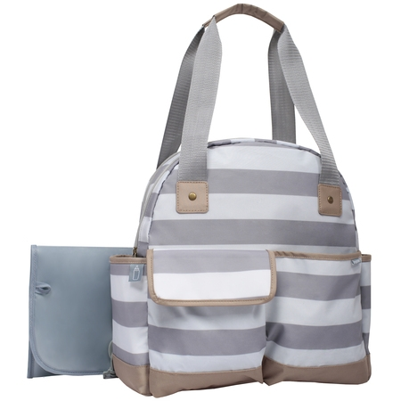- iPack Bowling Bag Diaper Bag, White + Gray