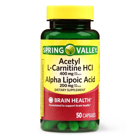 Spring Valley Acetyl L-Carnitine HCL Alpha Lipoic Acid Capsules, 50 Ct Acetyl L-carnitine 500 Vitamins