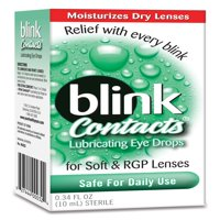Blink Contacts Lubricating Eye Drops for Soft & RGP Lenses, 0.34 FL OZ