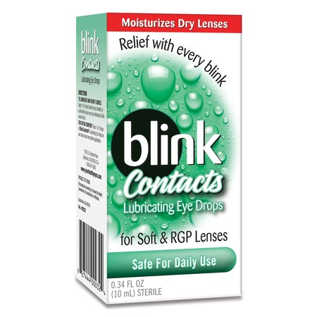 Amo Blink Tears Lubricating Eye Drops (Blink Contacts Lubricating Eye Drops for Soft & RGP Lenses, 0.34 FL)
