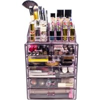 Sorbus, Acrylic Cosmetic Makeup and Jewelry Storage Case Display, Spacious Design, 4 Large, 2 Small Drawers, Purple