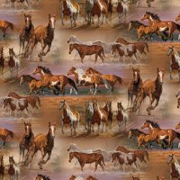 """Horses In The Field Quilting Cotton Fabric By The Yard, 44"""""""