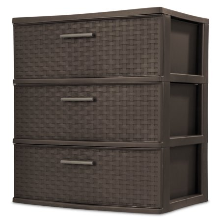 Sterilite, 3 Drawer Wide Weave Tower, Espresso (Kids Drawer)