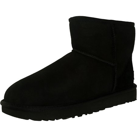 Ugg Women's Classic Mini II Leather Black Ankle-High Suede Boot - 9M