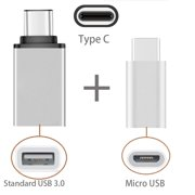 [2 in 1 Pack] Type C OTG, EpicGadget(TM) 1 Type C to USB Adapter + 1 Type C to Micro USB Adapter , Converts/Connects USB Type-C input/output to 3.0 USB ...