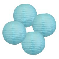"""18"""" Baby Blue Paper Lanterns (Set of 4) - Decorative Round Chinese/Japanese Paper Lanterns for Birthday Parties, Weddings, Baby Showers, and Life Celebrations!"""