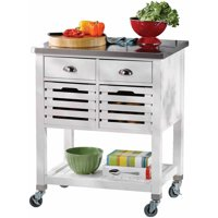 Linon Robbin Wood Kitchen Cart with Stainless Steel Top, 36 inches Tall, Multiple Colors