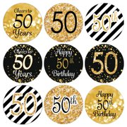 50th Birthday Party Favor Stickers