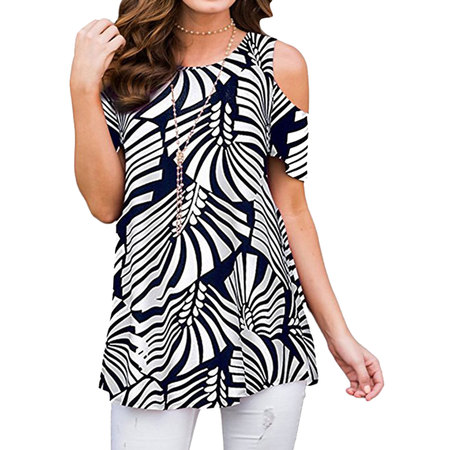 711ONLINESTORE Women Floral Print Round Neck Cold Shoulder Tunic Blouse - Firefighter Tunic