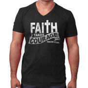 40a6a6d447f23 Faith Courage T Shirt Jesus Christ Love Bible God Savior Gift V-Neck T-