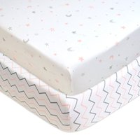 American Baby Company 2 Piece Printed 100% Cotton Jersey Knit Fitted Crib Sheet, Pink Stars/Zigzag