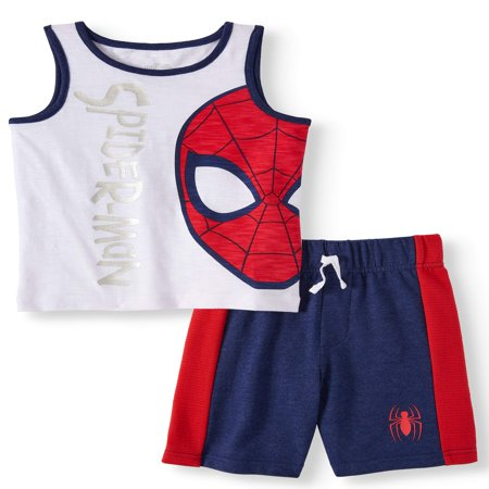 SPIDERMAN Graphic Muscle Tank & Drawstring French Terry Short, 2pc Outfit Set (Toddler Boys) - Male Hippie Outfits