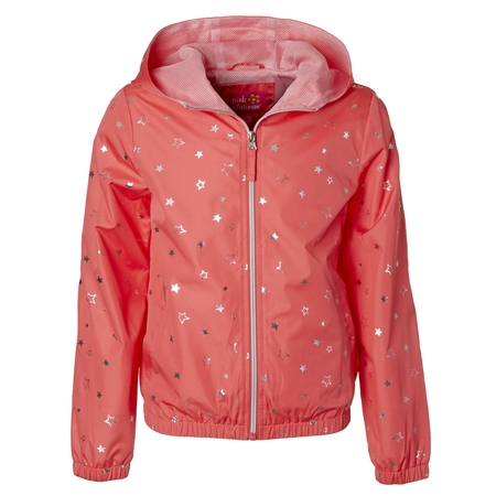 Star Foil Print Windbreaker Jacket with Mesh Lining (Little Girls & Big Girls) - Varsity Jackets For Little Girls