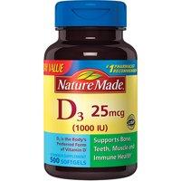 Nature Made Vitamin D3 25mcg/1000IU Softgels Value Size, 500ct