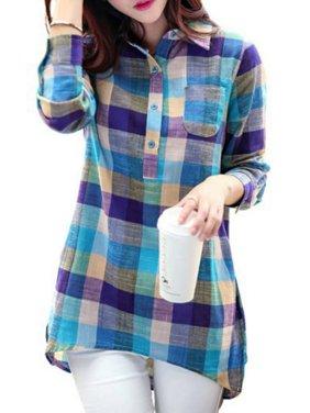 Babula Women Plaid Button Down Casual Long Sleeve Cotton Linen Tops Blouse