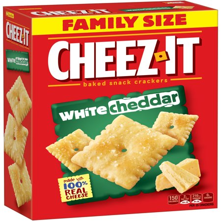 - Cheez-It Baked White Cheddar Snack Crackers Family Size, 21 Oz.