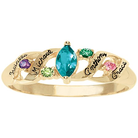 Personalized Family Jewelry Ava Birthstone Mother's Ring available in Sterling Silver, Gold and White (Sesame Ring)