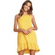 aed9504eb8 Women Boho Beach Polka Dot Short Mini Dress Sleeveless Party Swing Sundress.  Product Variants Selector. Yellow