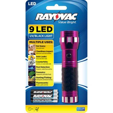 Rayovac Value Bright 9 LED UV Flashlight](Black Ligjt)