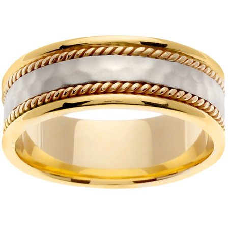 14K Two Tone Gold Rope Edge Braid Handmade Comfort Fit Women's Wedding Band (Rope Edge Band)