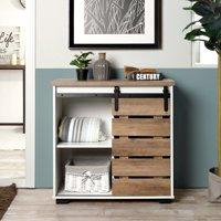 FurnitureR 32.3'' Sliding Slat Barn Door Accent Cabinet (White/Rustic)