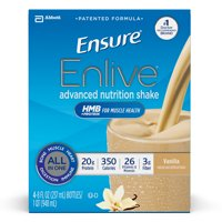Ensure Enlive Advanced Nutrition Shake with 20 grams of High-Quality protein, Meal Replacement Shakes, Vanilla, 8 fl oz, 16 count