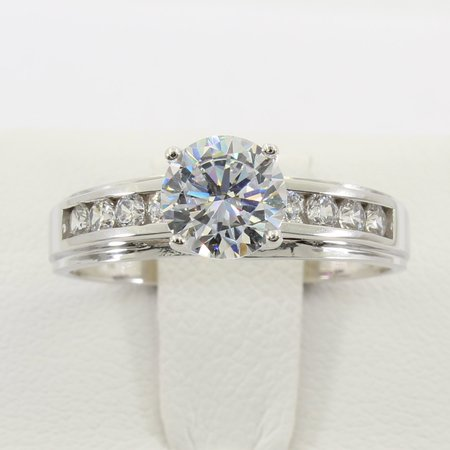 Trellis Solitaire Setting (1.50 Ct 14K Real White Gold Round Cut 4 Prong Trellis Setting Solitaire Engagement Wedding Bridal Propose Promise Ring)