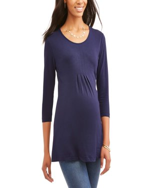 Oh! Mamma Maternity 3/4 Sleeve Pleat Front Tunic - Available in Plus Sizes