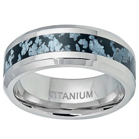 Men Women Titanium Wedding Band Ring 8mm Blue & Gray Natural Riverstone Inlay Ring