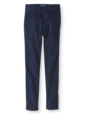Boys' School Uniform Twill Modern Fit Pants With Adjustable Waist