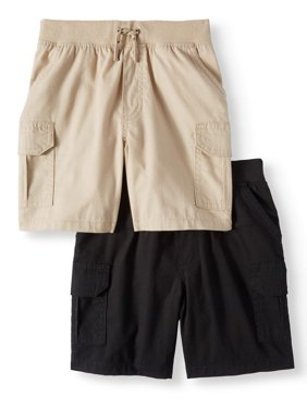 Toddler Boys' Canvas Cargo Shorts With Knit Waistband, 2-Piece Multi-Pack