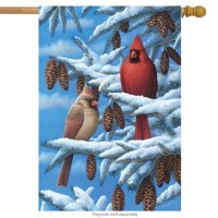 "Winter Cardinals House Flag Seasonal Bird Couple 28"" x 40"" Briarwood Lane"