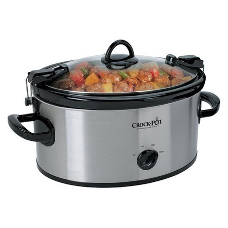 Crock-Pot Stainless Steel 6 Quart Cook & Carry Oval Manual Portable Slow Cooker
