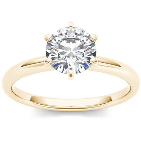 1 Carat T.W. Diamond Six-Prong Solitaire 14kt Yellow Gold Engagement (1 Carat Diamond Ring 14k Yellow Gold)