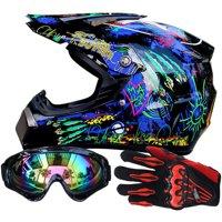 TINTON LIFE Men Helmet + Goggles + Gloves Racing Helmet Dirt Bike ATV Gear Motocross Helmet, color3