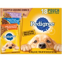 Pedigree Chopped Ground Dinner Adult Canned Wet Dog Food Variety Pack, (18) 3.5 oz. Cans
