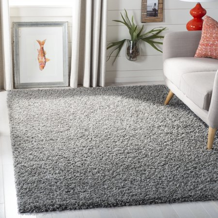 Safavieh Lavena Solid Plush Shag Area Rug or Runner - Oushak Black Area Rugs