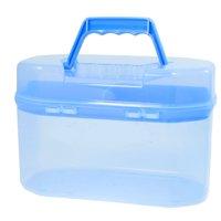 Unique Bargains Clear Blue Plastic Handle Flip Lock Household Storage Box