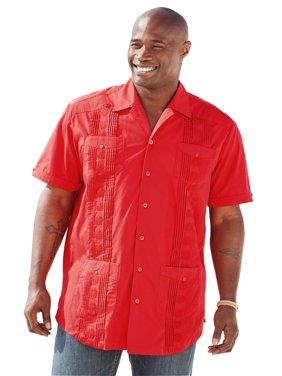 Ks Island Men's Big & Tall Short-sleeve Guayabera Shirt