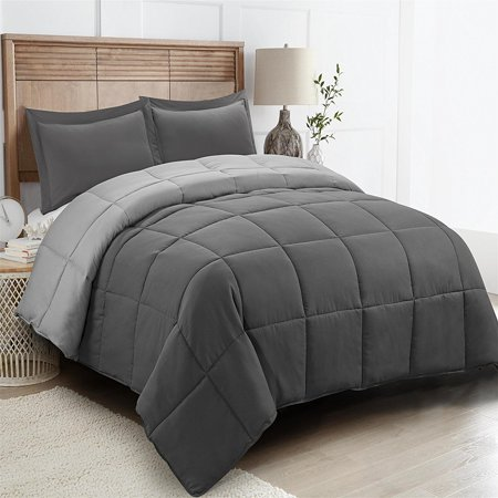 All Season Down Alternative Comforter Set- 2pc Box Stitched- Reversible Comforter with One Sham-Quilted Duvet Insert with Corner Tabs for Duvet Cover-Hypoallergenic, Supersoft, Wrinkle Resistant -Twin ()