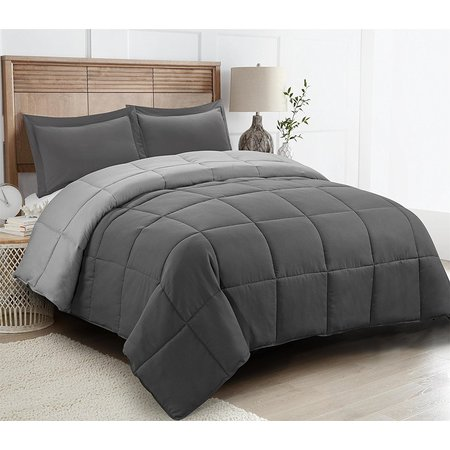 All Season Down Alternative Comforter Set- 2pc Box Stitched- Reversible Comforter with One Sham-Quilted Duvet Insert with Corner Tabs for Duvet Cover-Hypoallergenic, Supersoft, Wrinkle Resistant (Polyester Duvet Insert)