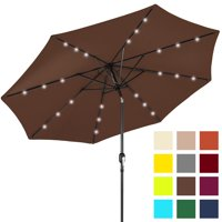 Best Choice Products 10' Solar LED Tilt Patio Umbrella, Brown