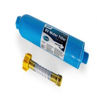 Camco 40043 TastePURE Inline Water Filter with Flexible Hose Protector, Greatly Reduces Bad Taste, Odors, Chlorine and Sediment in Drinking Water