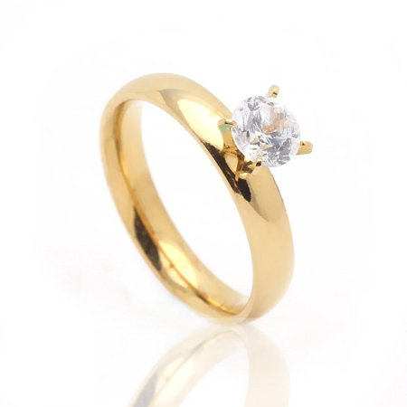 4mm Wide Gold over Stainless Steel Engagement Wedding Ring - Ginger Lyne Collection (4 Mm Wide Ring)