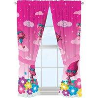 DreamWorks Trolls Jumping Rainbows Girls Bedroom Curtains, 1 Each