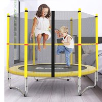 Zimtown My First Small 60 inches Kids Mini Round Trampoline Combo, with Surround Enclosure, Net and Bounce Spring Pad, for Youth Junior Juvenile Indoor Safety Jumping